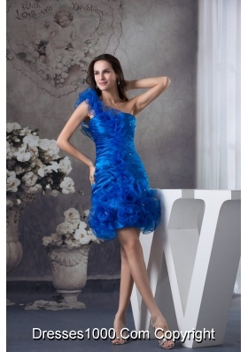 Blue Column One Shoulder Prom Dress with Ruching and Organza Layers