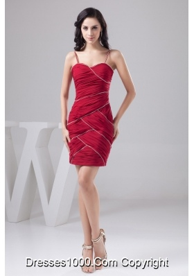 Dark Red Spaghetti Straps Ruched Beaded Prom Dress Mini-length