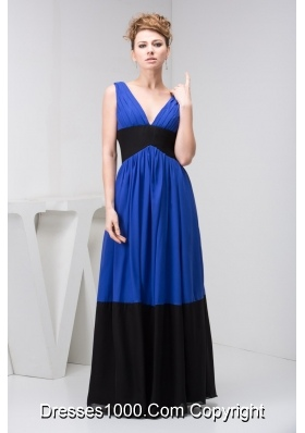 Floor-length V-neck Column Blue and Black Prom Dress with Ruche
