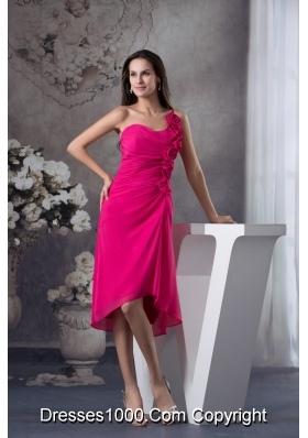 Fuchsia One Shoulder Knee-length Prom Dress with Handmade Flowers