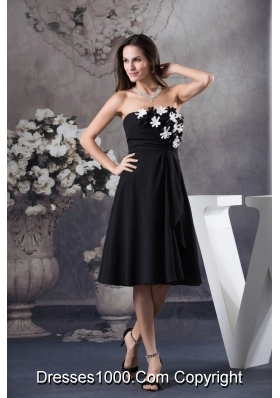 Hand Made Flowers Decorated Strapless Prom Dress in Black