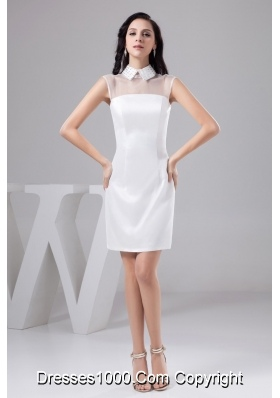 High-Neck White Column Wedding Dresses with Beaded Collar and Zipper-up