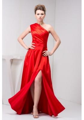 Low Price One Shoulder Red Slitted Ruched Prom Dress Floor-length