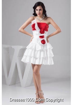 Mini-length Red and White Bridal Gowns with Flowers and Ruffled Layers