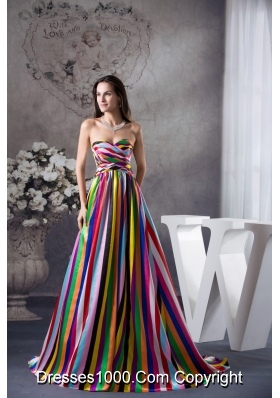 Multi-color Sweetheart Sweep Train Prom Dress with Lace-up Back