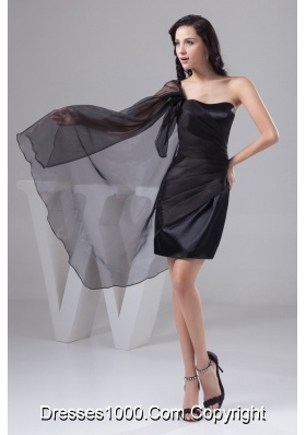 One Shoulder Mini-length Ruched Black Prom Dress for Ladies Taffeta