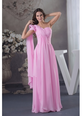 Pink One Shoulder Floor-length Prom Dress with Watteau Train