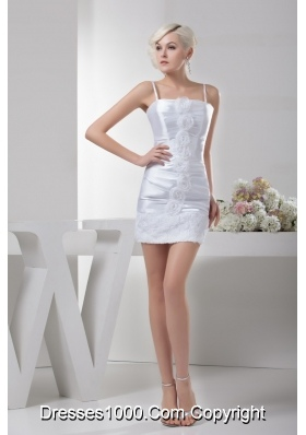 Ruched Mini-length Wedding Dresses with Spaghetti Straps and Rolling Flowers