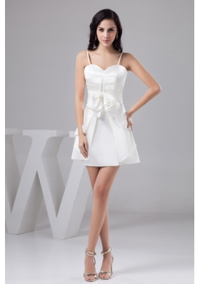 Ruched Pearl White Mini-length Wedding Dresses with Spaghetti Straps