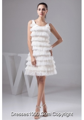 Scoop Mini-length Wedding Dresses with Beading and Feather Decoration