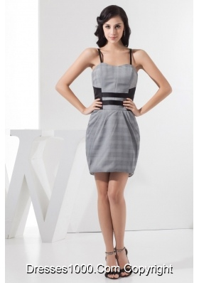 Spaghetti Straps Mini-length Plaid Prom Dress for Girls in Grey