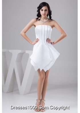 Strapless Sleeveless Asymmetrical Mini-length White Bridal Gowns
