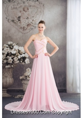 Sweetheart Court Train Pink Chiffon Prom Celebrity Dress with Beading