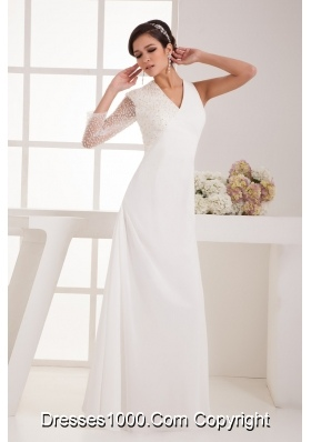 V-neck Floor-length Chiffon Bridal Dresses with Beaded One Long Sleeve