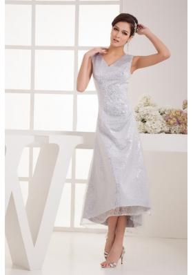 V-neck Tea-length Silver Bridal Dresses with Sequins Over Skirt
