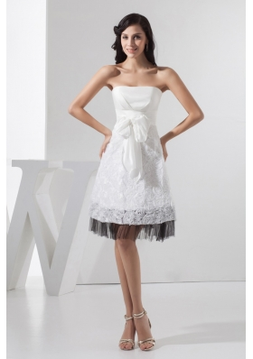 White and Black Wedding Dresses with Sash and Rolling Flowers 2013