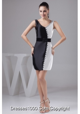 Beautiful V-neck Black and White Prom Dress with Wide Sash and Beading