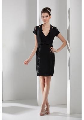 Black V-neck Short Sleeves Sashes Short Prom Dresses