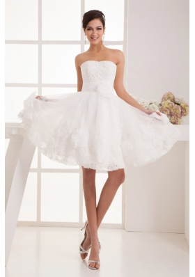 Flowers Beaing and AppliquesStrapless Princess Wedding Dress with Lace Edge