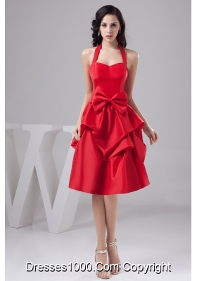 Halter-top Knee-length Taffeta Prom Gown with Pick-ups and Bowknots