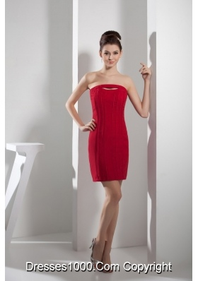 Empire Red Strapless Short Prom Dress with Cutouts