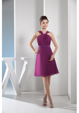 Knee-length Straps Ruched Purple Prom Dress