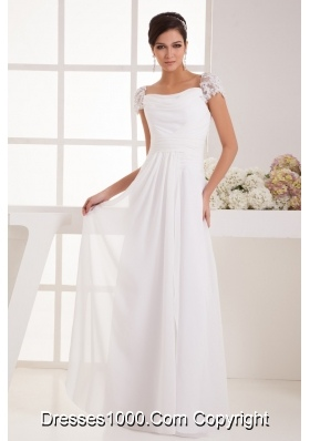 Lace Beaded Cap Sleeves Square Column Wedding Dress with Ruching