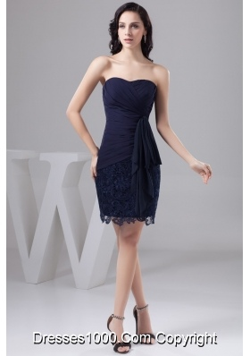 Navy Blue Bowknot Decorate Prom Gown Dress in Chiffon and Lace