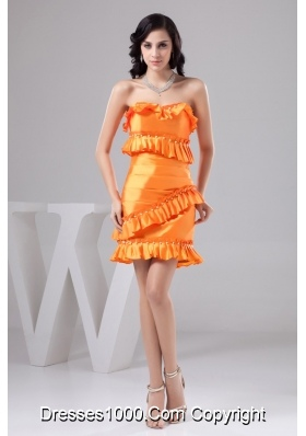 Orange Sweetheart ruffles Decorate Prom Dress with Beading and Ruching