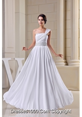 Pleating One Shoulder Wedding Gown Decorated with Beading Ribbon