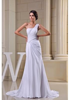 Pure One Shoulder Court Train Ruched Chiffon White Wedding Dress