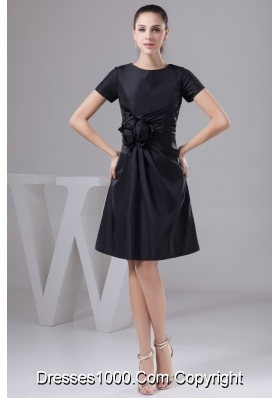 Ruches and Flowers Accent Black Prom Dresses for Weddings
