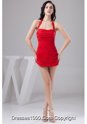 Sexy Column Halter Short Red Cocktail Prom Dress with Ruching