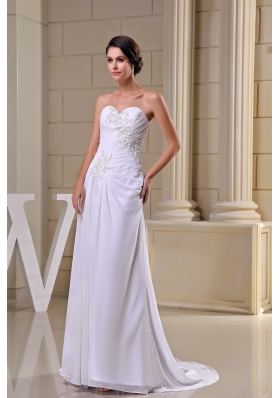 Sweetheart Brush Train Wedding Dresses in White Decorated with Beading and Ruching
