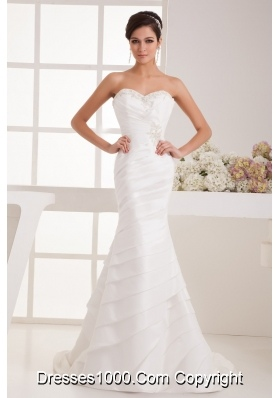 Sweetheart Tiers Wedding Dress with Beading Appliques and Ruching