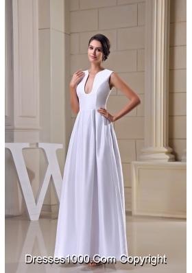 U-neck Ankle-length Sheath Wedding Dress in White For Destination Wedding