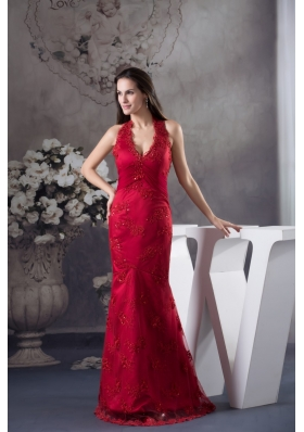 Wine Red Halter-Top Prom Gown with Embroidery and Beading for Party