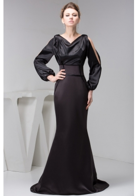 Brush Black Prom Dresses for Weddings with Long Open Sleeves