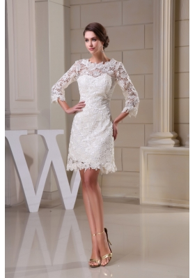 Lace Flowers Scoop Sheath Wedding Dresses in White with 3/4 Sleeves
