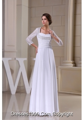 Lace with Beadings Decorated 3/4 Sleeves Bridal Gown with Heart Shaped Cutout Back