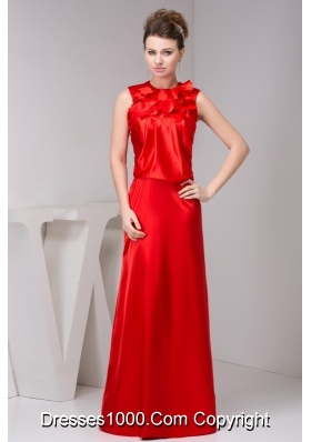 Layered High-Neck Floor-length Prom Dresses for Weddings in Red