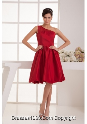 A-line Knee-length One Shoulder Beaded Wine Red Prom Dress