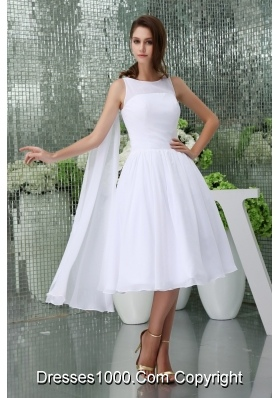 Affordable Scoop A-line Tea-length Bridal Gown in White withh Watteau Train