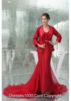Ankle-length Sheath Sweetheart Bridal Gown in Red with Watteau Train and Sash