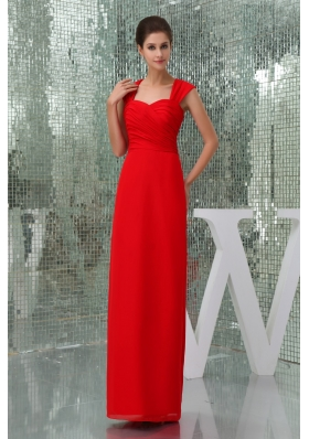 Ankle-length Square Neck Ruched Red Prom Dress with Cutouts on Back