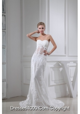 Beading Button Down Back Sweetheart Bridal Dresses with Transparent Waist