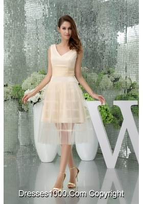 Beautiful A-line Satin Tulle V-neck Knee-length Champagne Prom Dress