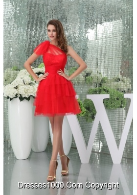 Beautiful Red One Shoulder Mini-length Tulle Prom Dress