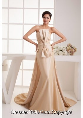Bowknot Ruches Champagne Prom Dress with Watteau Train