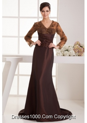 Brown Brush Train Prom Dress with Long Sleeves and Appliques